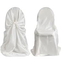 50pcs satin couverture de chaise universelle pour mariage auto cravate housse de chaise pour Party Restaurant faveurs de fête de mariage de haute qualité