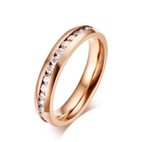 Rose Gold Color Fashion Lady' s Rings Titanium Steel Gem...