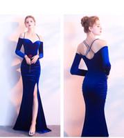 2020 Langarm Spaghetti Strap Lange Abendkleider Samt Side Split Mermaid Backless Plus Size Prom Kleider Robe De Soiree Elie Saab 584