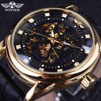 Winner Classic Genuine Leather Series Royal Diamond Design Black Golden Case Skeleton Men Watch Top  Automatic Watch
