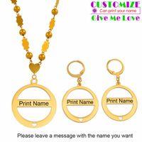 Anniyo Personalizza Nome Ciondolo Perle Collana Orecchini Marshall Imposta gioielli in acciaio inossidabile Personalizza nomi Micronesia # 053321