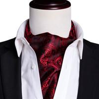Snabb leverans Ascot Mäns Klassisk Svart Röd Paisley Cravat Vintage Ascot Handkerchief CuffFlinks Cravat Set för Mens Bröllopsfest AS-0028
