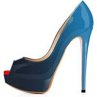 مصمم الكعوب العالية براءات الاختراع والجلود اللمحة تو واشار المرأة مضخات منصة الأحمر القيعان 12CM فستان الزفاف أحذية ذات جودة عالية