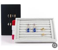 Soportes de exhibición de joyas Anillo de terciopelo mostrado Soporte de bandeja para anillos Showcase Velvet Organizer Box Jewelry Box