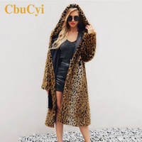 CbuCyi Women Long Coats Wool Plus Size Hooded Faux Fur Overc...