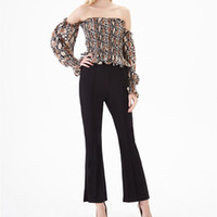 Women Snake Print Off The Shoulder Blouse Pleated Flounce Sl...