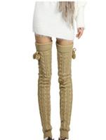 Колено высокие гетры Braid Knit Fuzzy Шаровые загрузки Свободные носки гетры чулки осень зима Женщины носки и песчаная подарок