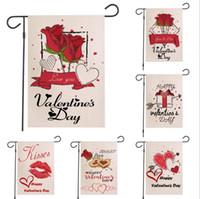 Счастливый День святого Валентина Сад Флаг вертикальный Двухсторонний Rose Весна Лето Сельский Дом Burlap Yard Открытый Украшение 12 х 18 дюймов