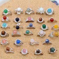 Prata banhado anel da pérola ouro branco 18k banhado anel ajustável com Natural Gemstone Bead Montado moda jóias por Mulheres