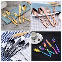 5pcs / set Çatal Seti Paslanmaz Çelik Gümüş Bıçak Takımı Yemek Çatal Çatal Bıçak Kaşık Mutfak Aletleri OOA7086-5