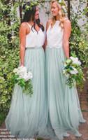 İki Adet Resmi Düğün Konuk Elbise Tül Genç Nedime Gelinlik Modelleri Bir Hat Kat Uzunluk Hizmetçi Onur Elbiseleri TD1609
