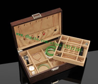 Cassa del tronco di alto grado Brown Letters Designer in pelle rivestita tela Designer in legno duro scatola di legno M21205 Blocco Chiusura Keeper Keeper