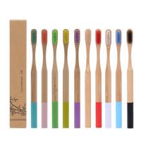 Natürliche Bambuszahnbürste Holz Weiche Borsten Eco Faser Holzgriff Pinsel für Erwachsene 12 Farben DHL
