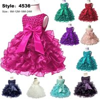 Little Baby Dresses Jewel Neck Pearls Decoration Layers Orga...
