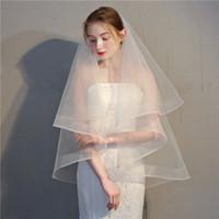 Простые женские гребень Свадебная вуаль две слои тюль ленты кромки свадебные завесы короткая вуаль для свадебных аксессуаров хорошее качество