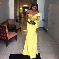 2020 noche amarillo generoso sudafricana vestidos de apliques de encaje de manga larga Un Prom vestidos del partido del vestido formal barato