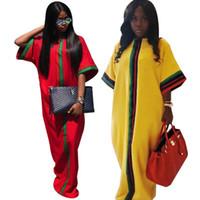 Yeni Casual Geleneksel Afrika Uzun Maxi Elbise Yaz Dijital Baskı Yarım kollu Robe Abiye Elbiseler Gevşek Artı boyutu Kadınlar Giyim S-2XL