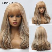Synthetische Perücken Emmor Platinum Blonde Haar lange Naturwelle mit ordentlichem Pony für Frauen hitzebeständig