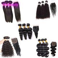 Brésilien Vierge Cheveux Yirubeauty Body Wave 3 Bundles avec une fermeture de dentelle 4x4 Fermeture DROITE Vague profonde vague lâche Kinky Curly Humain Cheveux Wefts 8-30