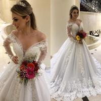 Duai arabe épaule élégante off une ligne robes de mariage avec de longues manches illusion longueur de plancher Custom Made De Novia 2020 Vestido