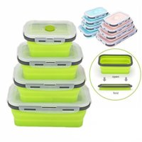 6 Colors floding lunch boxes food grade silicone food storag...