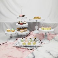 6Pcs Wholesale Wedding Cupcake Tray Dessert 3 Tier Plate Met...