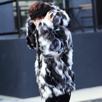 Escudo de leopardo piel de imitación de los hombres con capucha caliente de la chaqueta para hombre de los abrigos de pieles de la cremallera Outwear Invierno Hombre Parka de gran tamaño colorido Negro 3XL