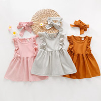 Toddler Girl Clothes Solid Girls Dresses Headband 2pcs Set R...