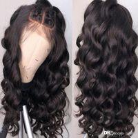 360 Lace Wig candeggiati nodi dell'onda del corpo di Glueless Virgin brasiliano a buon mercato reale Pre pizzico 360 Frontal piena del merletto dei capelli umani parrucche per le donne