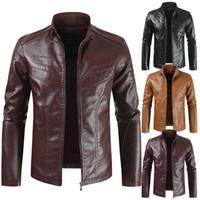 Dos homens do desenhista Jaquetas de couro Casual Quente Manga comprida Fique Collar Motorcycle Jackets Mens Moda Casacos de inverno