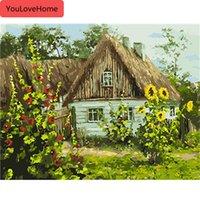Coloring nach Zahlen für Erwachsene Haus Diy Unframe Handwerk Malen nach Zahlen Leinwand Kits Landschaft Acrylfarbe Leinwand-Malerei-Kunst