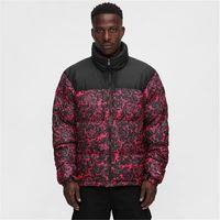 有名なデザイナーメンズダウンジャケットバラの印刷ファッションの肥厚はチベットの帽子赤と黒のサイズm-xxlになることができます