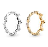 18 Karat Gelb vergoldet verzauberte Krone Blumenring Original Box für Pfanne 925 Sterling Silber Diamant Frauen Hochzeit Ringe Set W161