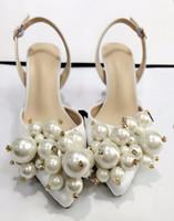 Venta caliente-LTTL Exquisitos zapatos de boda de perlas Satén blanco Tacones altos Bombas del todo fósforo Mujeres Banquete Vestido de fiesta Zapatos de tacón alto Socialite