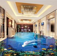 Benutzerdefinierte 3D Grundtapete Tapete Tapeten Wohnkultur Moderne Dolphin Ozean Wohnzimmer Schlafzimmer Badezimmer Fussboden Aufkleber PVC