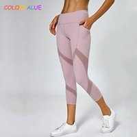 Colorvalue Mesh Patchwork Sport Gym Allenamento Capri Pants Donna Vita alta Fitness Yoga Cropped Leggings con tasca laterale XS-XL