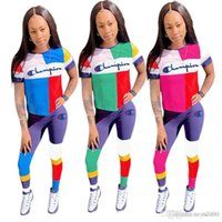 Summer Champions Women Tracksuit Patchwork Short Sleeve T sh...