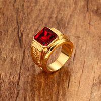 SQUARE RED STONE HIP-HOP MEN RING 황금 스테인레스 스틸 오목 DRAGON RINGS MENS 쥬얼리