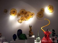 Турецкий Murano Flower Shaped Стеклянные пластины выдувного стекла руки настенная плитка Современный выполненный на заказ из муранского стекла искусства стены украшения