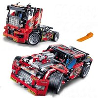 608pcs Race Truck Car 2 In 1 Transformable Model Building Bl...