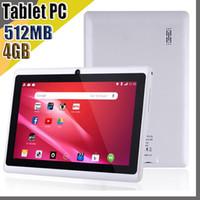 818 Tablets baratos WiFi 7 polegadas 512MB RAM 4GB ROM Allwinner A33 Quad Core Android 4.4 Capacitivo Tablet PC Dual Câmera Facebook Q88 A-7PB
