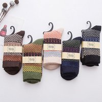 5 pair Mens Vintage Ethnic Woolen Warm Long Socks Checked St...