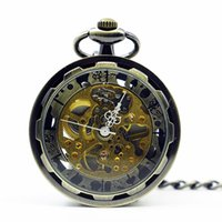 2019 Vintage Steampunk Carving Bronze Mechanical Pocket Watc...