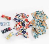 새로운 베이비 의류 2 조각 세트 짧은 소매 전체 꽃 셔츠 + 바지 소녀 여름 로리타 여름 안티 모기 의류 세트