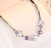 16.3+4.5cm sterling silver plated bracelet with crystal clover designer link charm bracelets jewelry for party