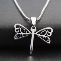 Moda stile coreano collana a forma di libellula ciondolo all'ingrosso di alta qualità semplice in acciaio inossidabile gioielli ciondolo collana pendente