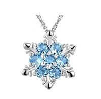 Мода Ювелирные Изделия Снежинка Кулон Ожерелья Синий Кристалл Снежинка Замороженные Цветочные Ожерелье Подвески с Цепной Бесплатная Доставка