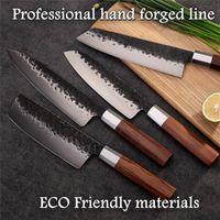 4 Stücke Professionelle Handgemachte Küchenmesser Kohlenstoffstahl Chef Santoku Nakiri Kiritsuke Messer Kochen Werkzeuge Geschenkbox Enkel