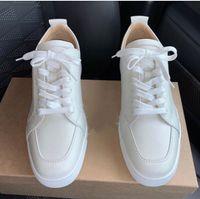 [Original Box] Neue Designer Herren Red Bottom Shoes Mit Top Qualität Frauen Sneaker Mann Rantulow Leder Lässige flache weiße, schwarz, nackt EU35-47