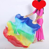 Stage Wear Aankomst 1.5m / 1.8m / 2.1m Lange Buik Dansen Pure Zijde Fan Sluieren Chinese Bamboe Ribs Vouwen Fans Sluier voor Dames Dansers